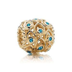 Pandora 14kt Gold blue topaz Charm- Brand New